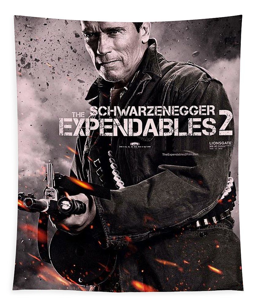The Expendables 2 Tapestry featuring the photograph The Expendables 2 Schwarzenegger by Movie Poster Prints