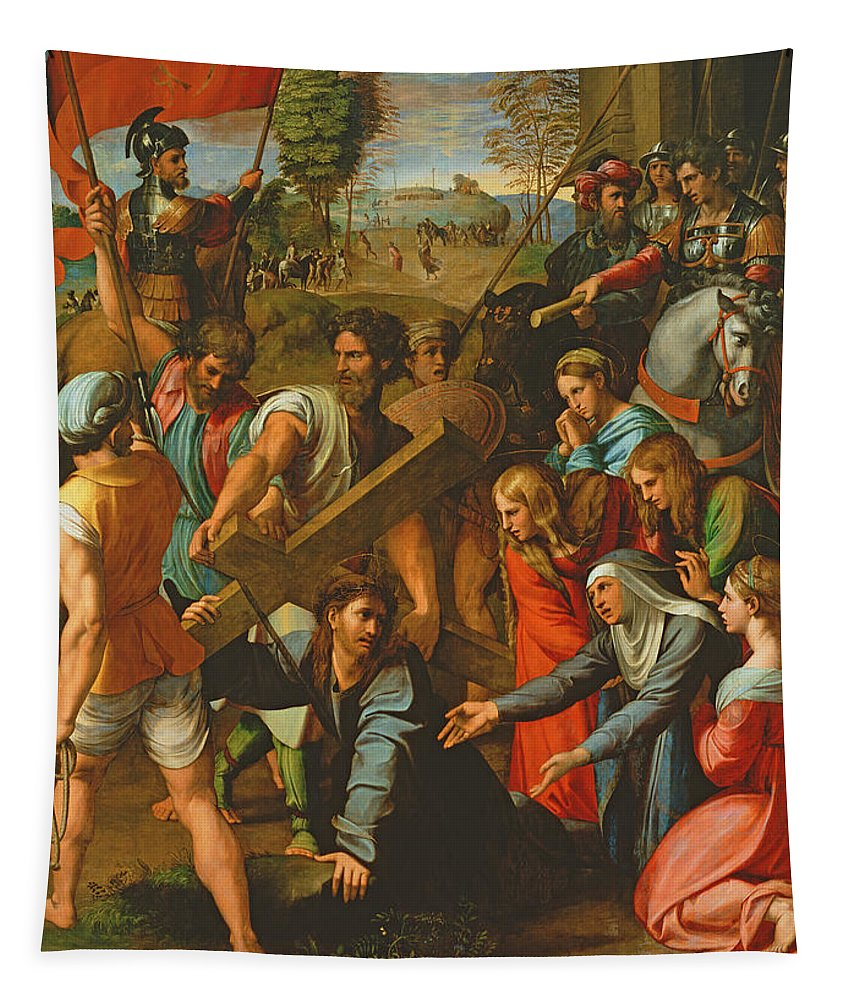 Cross Tapestry featuring the photograph The Fall On The Road To Calvary, 1517 Oil On Canvas by Raphael