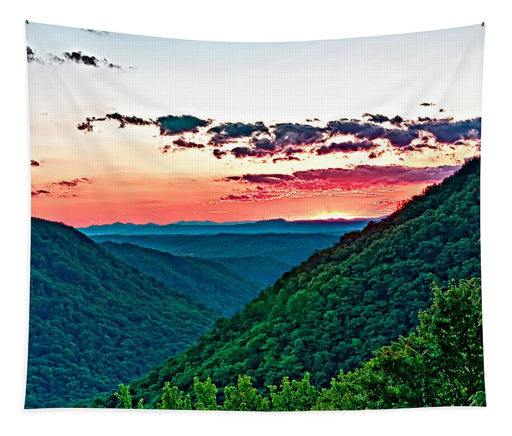 Sunset Tapestry featuring the photograph The Far Hills 2 by Steve Harrington