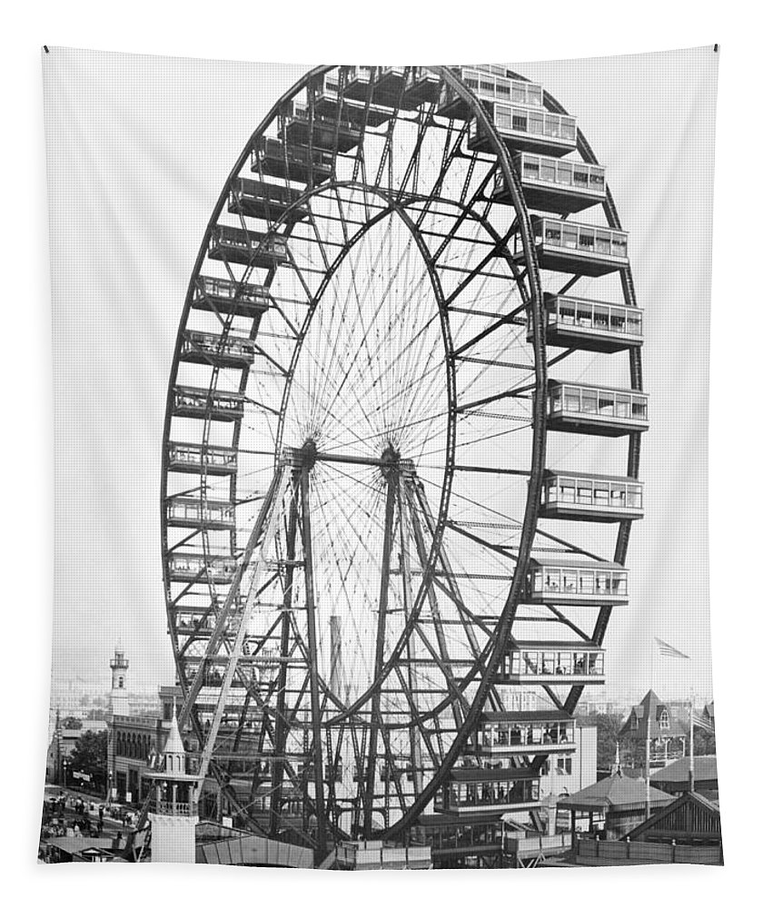 Fairground Tapestry featuring the photograph The Ferris Wheel At The Worlds Columbian Exposition Of 1893 In Chicago Bw Photo by American Photographer