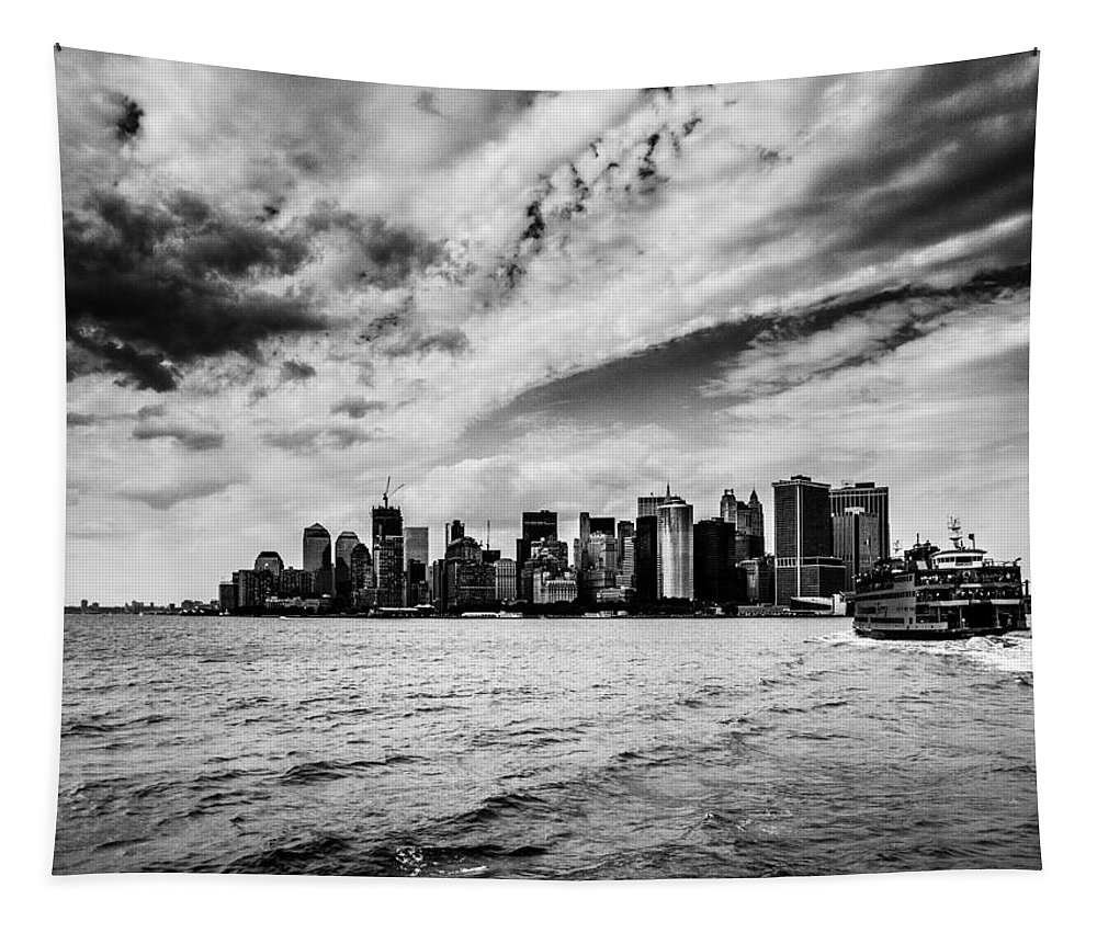 Ferry Tapestry featuring the photograph The Ferry To Manhattan by Hakon Soreide