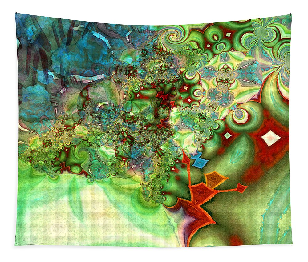 Fractal Tapestry featuring the painting The First Man by Miki De Goodaboom