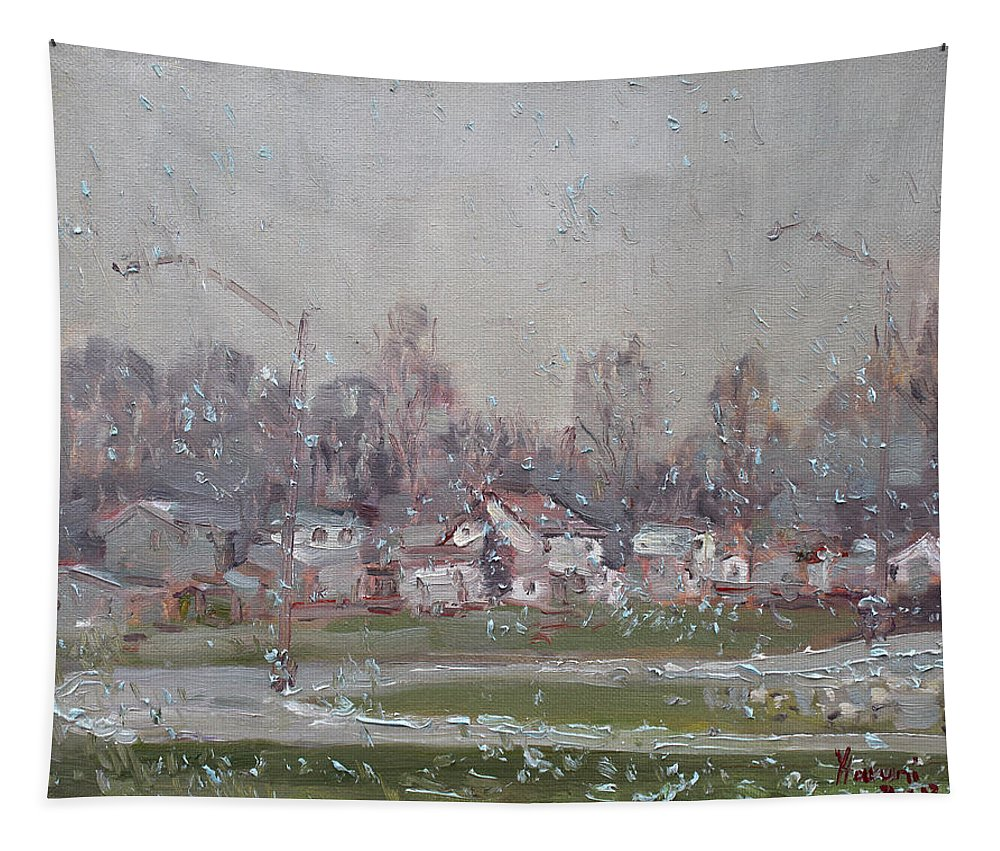 First Snowflakes Tapestry featuring the painting The First Snowflakes Of The Season by Ylli Haruni