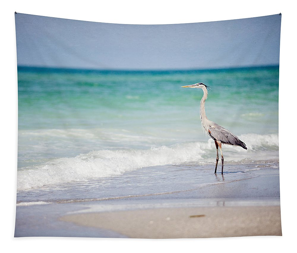 Heron Tapestry featuring the photograph The Fishing Heron on the Beach at Longboat Key Florida by Lisa R