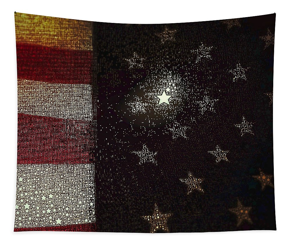Abstract Flag Tapestry featuring the photograph The Flag Was Still There by Bill Owen