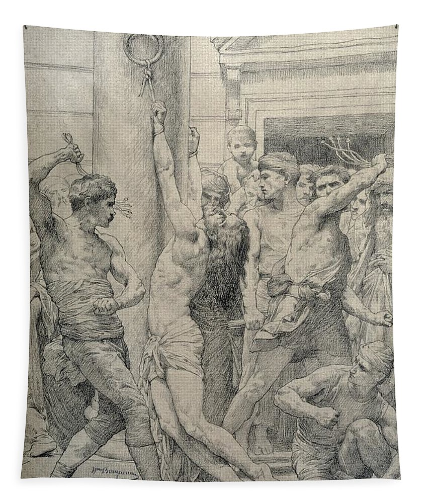 Jesus Tapestry featuring the pastel The Flagellation Of Christ by William Adolphe Bouguereau