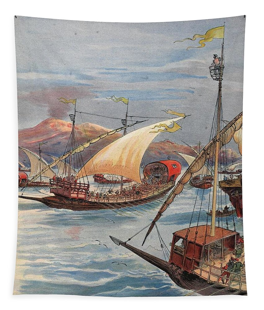 C16th Tapestry featuring the drawing The Fleet Of Doria, Naples by Albert Robida