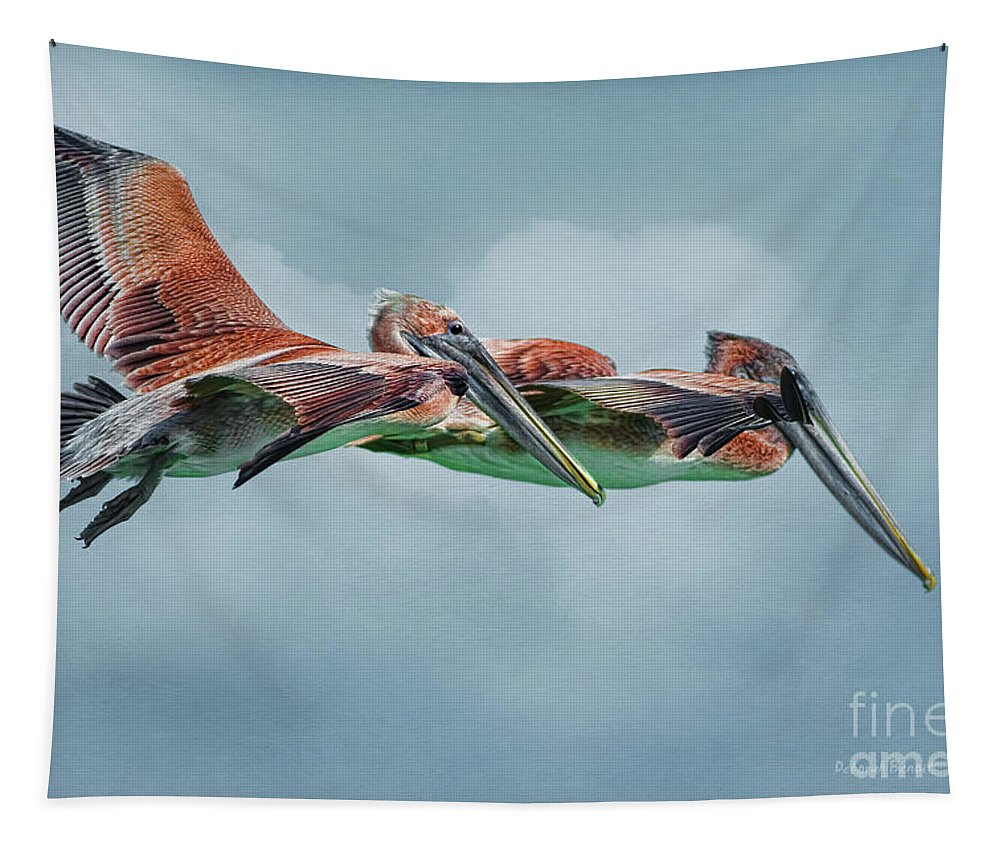 Pelicans Tapestry featuring the photograph The Flying Pair by Deborah Benoit