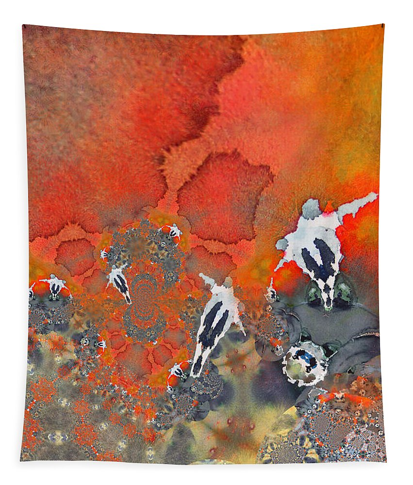 Fractal Tapestry featuring the painting The Football Game by Miki De Goodaboom