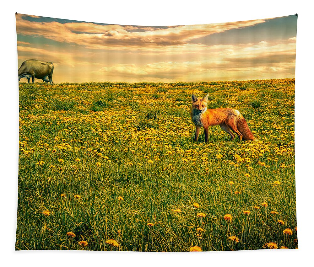Cows Tapestry featuring the photograph The Fox And The Cow by Bob Orsillo