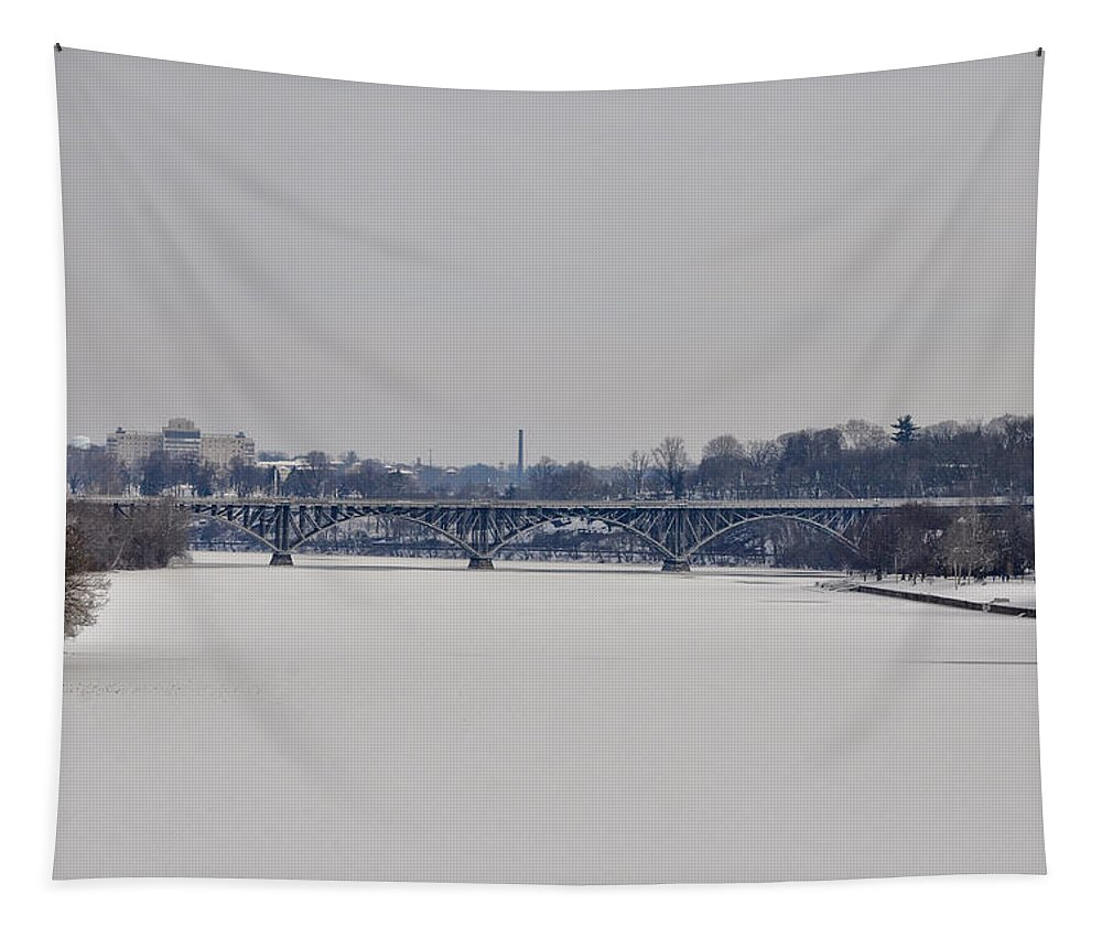 The Frozen Schuylkill And Strawberry Mansion Bridge Tapestry featuring the photograph The Frozen Schuylkill And Strawberry Mansion Bridge by Bill Cannon