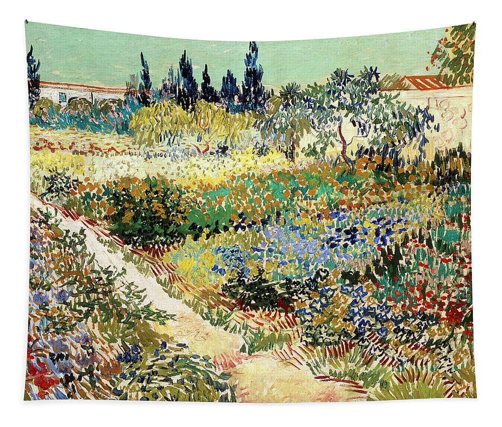 Blooming Tapestry featuring the painting The Garden At Arles, 1888 by Vincent van Gogh