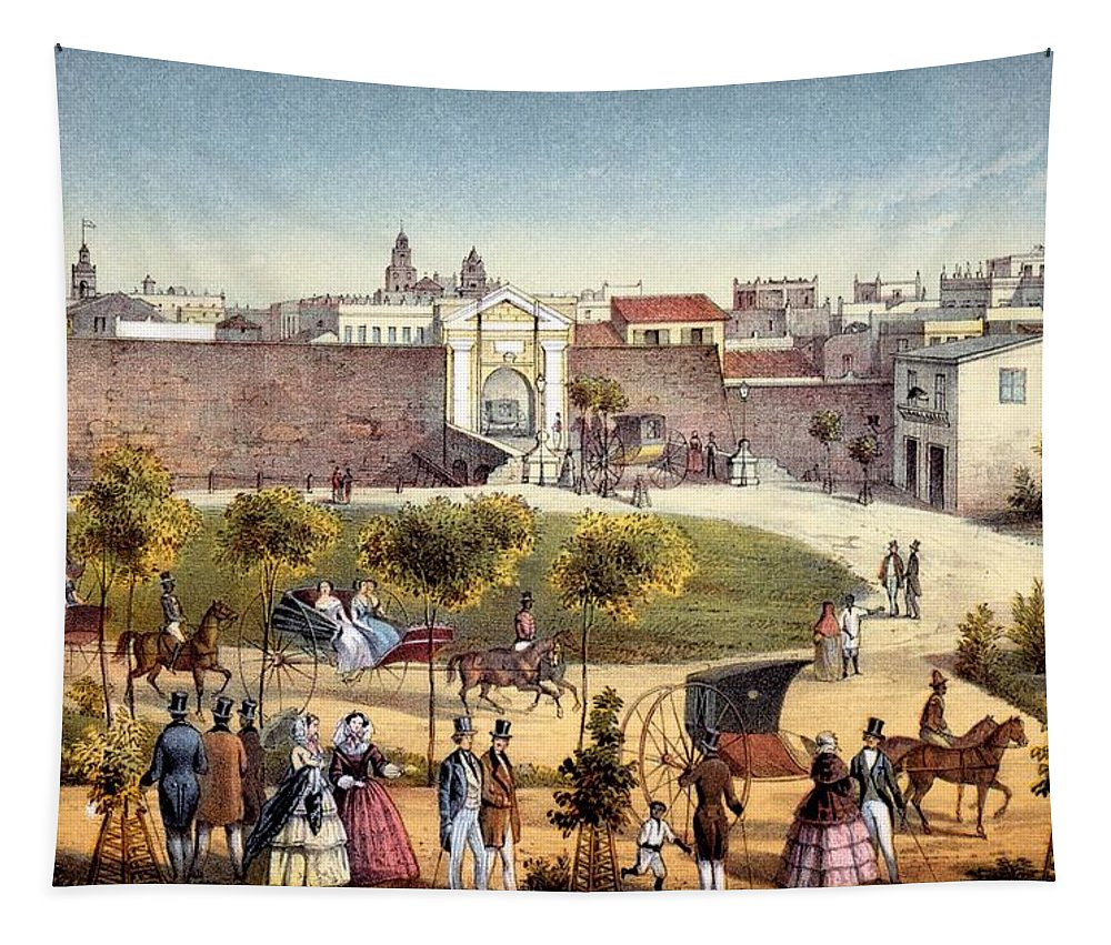 Monseratte Tapestry featuring the drawing The Gates Of Monseratte, Havana, Cuba by Federico Mialhe
