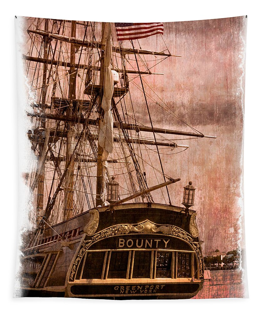 American Tapestry featuring the photograph The Gleaming Hull Of The Hms Bounty by Debra and Dave Vanderlaan