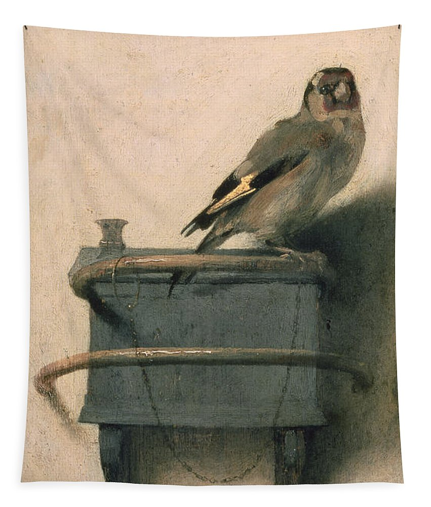 Bird Tapestry featuring the painting The Goldfinch by Carel Fabritius