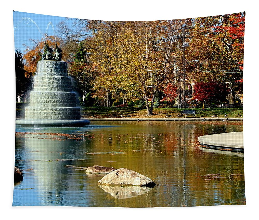Goodale Tapestry featuring the photograph The Goodale Park Fountain by Laurel Talabere