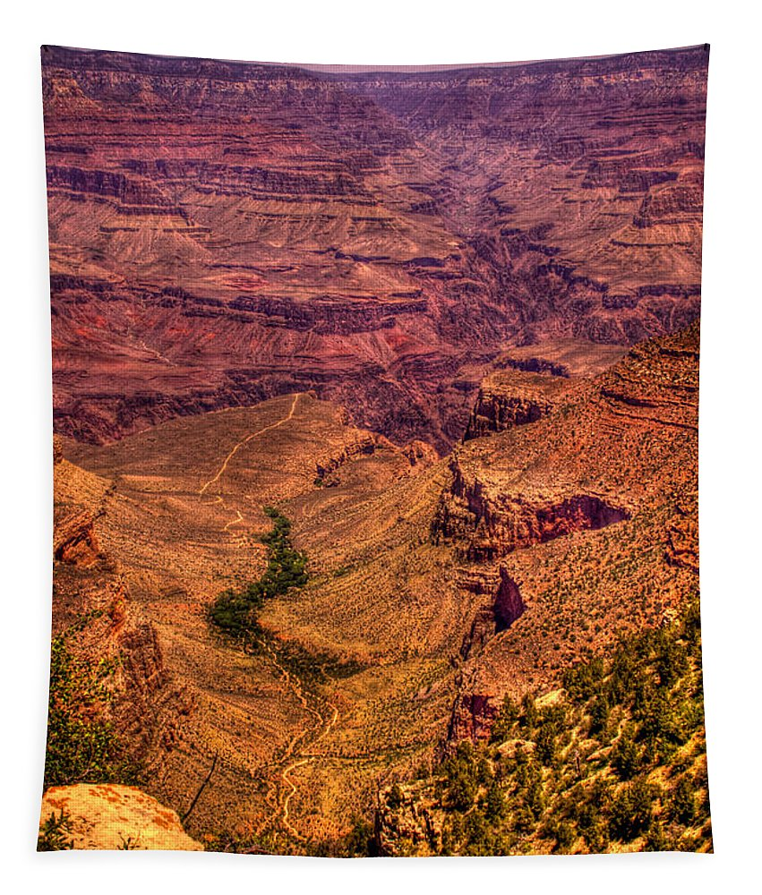 Grand Canyon Tapestry featuring the photograph The Grand Canyon From Bright Angel Lodge by David Patterson