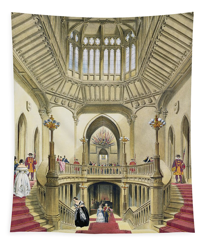 Interior Tapestry featuring the drawing The Grand Staircase, Windsor Castle by English School
