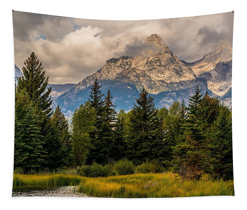 Grand Tetom National Park Tapestry featuring the photograph Sun Rises On The Tetons by Yeates Photography