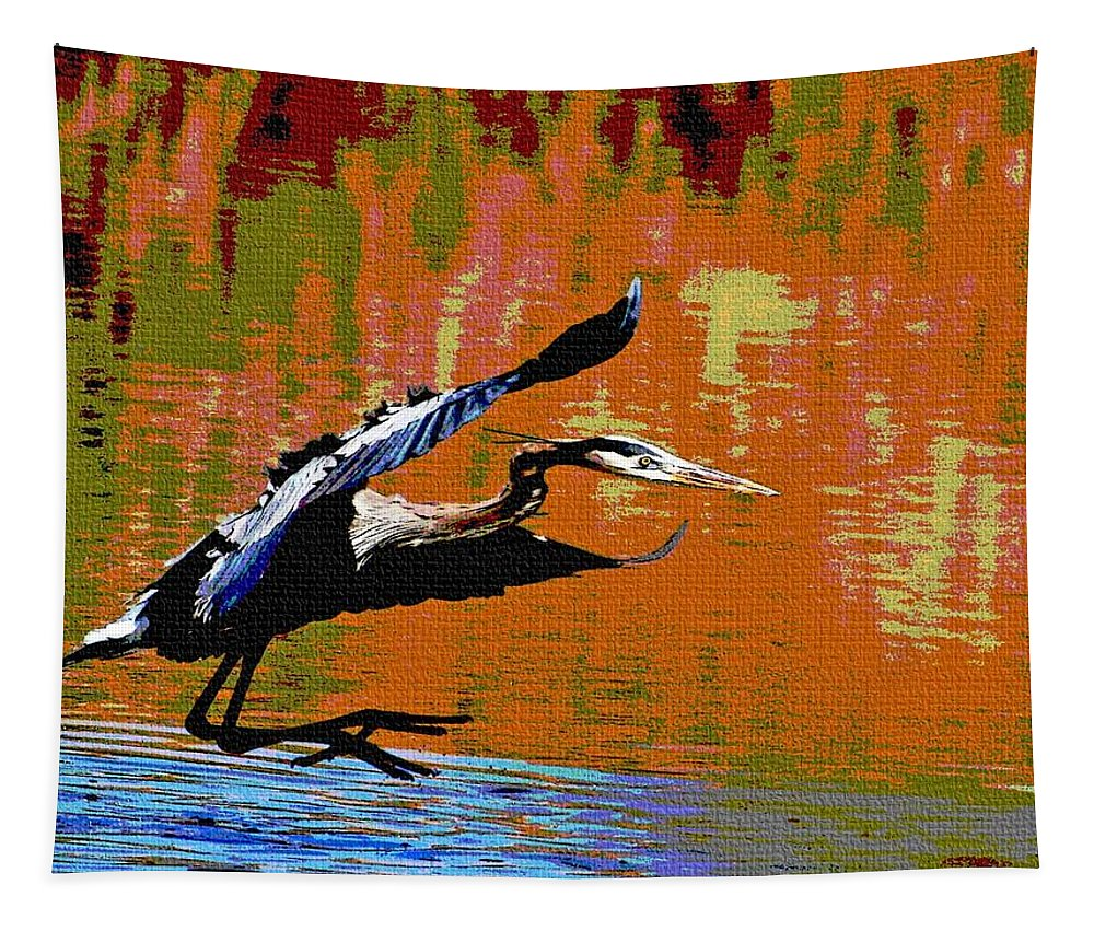 The Great Blue Heron Tapestry featuring the photograph The Great Blue Heron Jumps To Flight by Tom Janca