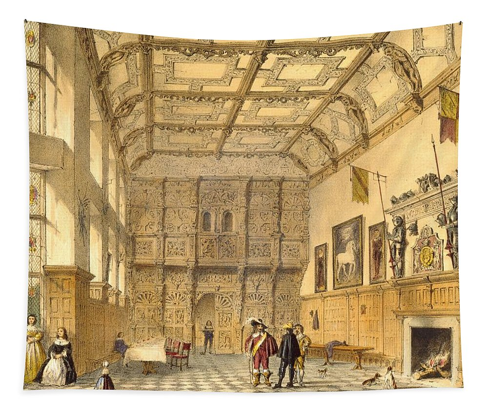 Domestic Interior Tapestry featuring the drawing The Great Hall, Hatfield, Berkshire by Joseph Nash