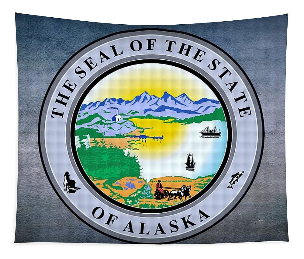 Alaska Tapestry featuring the photograph The Great Seal Of The State Of Alaska by Movie Poster Prints