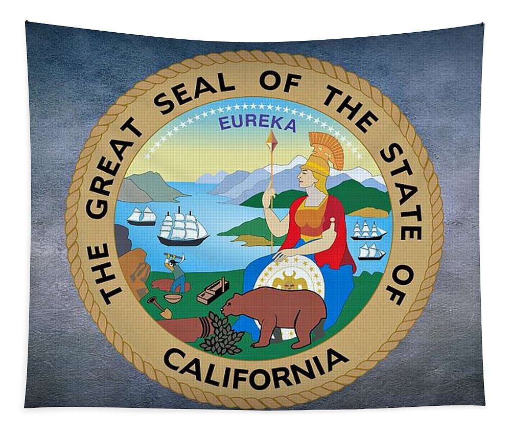 California Tapestry featuring the photograph The Great Seal Of The State Of California by Movie Poster Prints