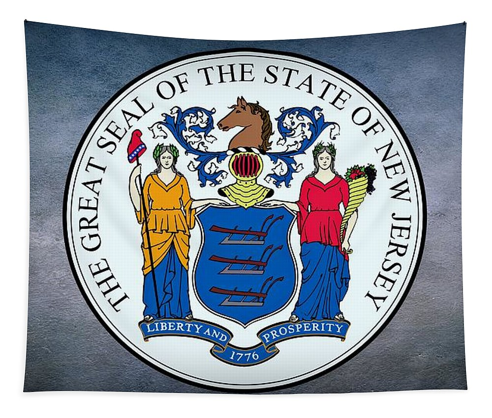 New Jersey Tapestry featuring the photograph The Great Seal Of The State Of New Jersey by Movie Poster Prints