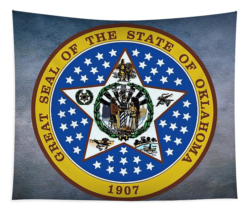 Oklahoma Tapestry featuring the photograph The Great Seal Of The State Of Oklahoma by Movie Poster Prints