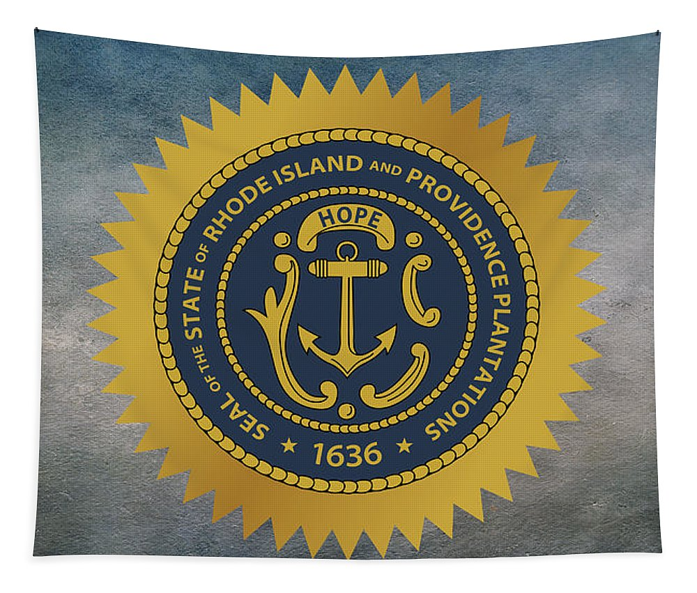 Rhode Island Tapestry featuring the photograph The Great Seal Of The State Of Rhode Island by Movie Poster Prints
