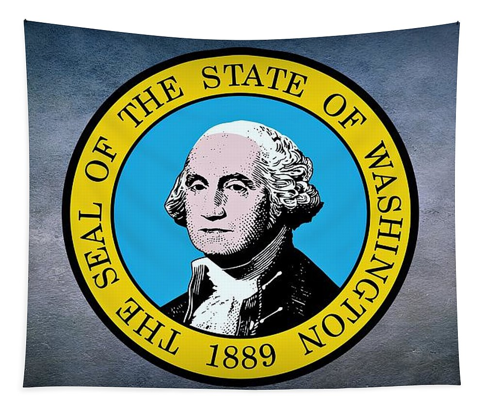 Washington Tapestry featuring the photograph The Great Seal Of The State Of Washington by Movie Poster Prints