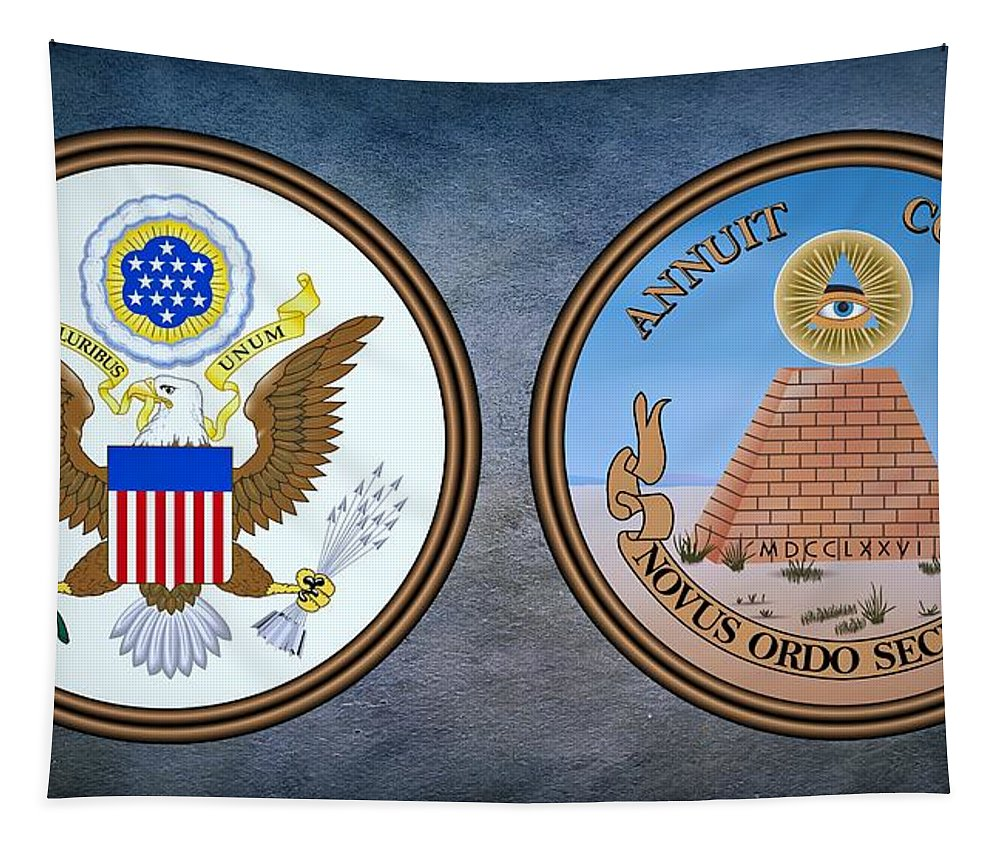 Usa Tapestry featuring the photograph The Great Seal Of The United States Obverse And Reverse by Movie Poster Prints