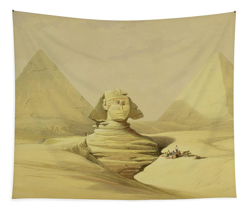 Desert Tapestry featuring the painting The Great Sphinx And The Pyramids Of Giza by David Roberts