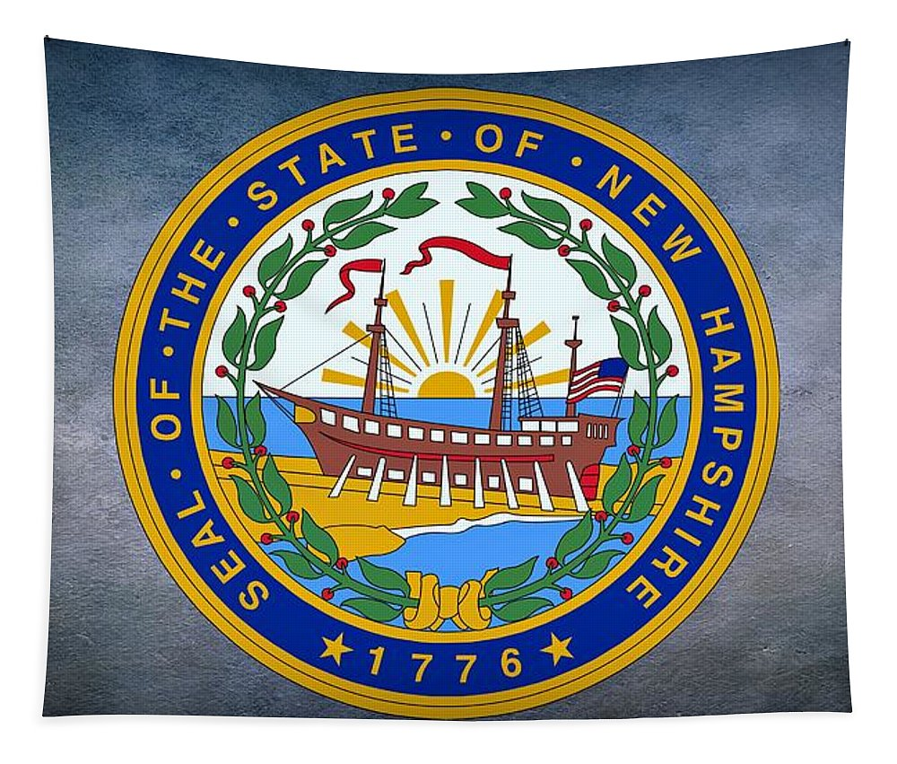 New Hampshire Tapestry featuring the photograph The Great Seal Of The State Of New Hampshire by Movie Poster Prints