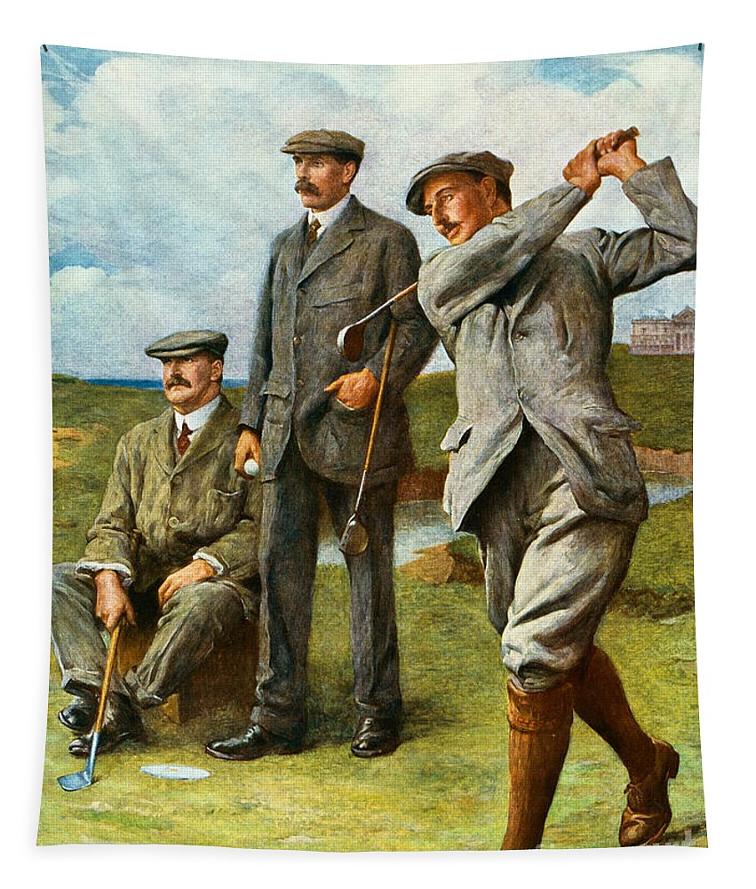 Golf Tapestry featuring the painting The Great Triumvirate by Clement Flower