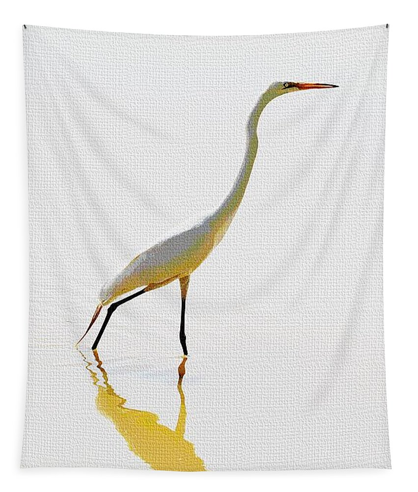 The Greater Egret With Style Tapestry featuring the photograph The Greater Egret With Style by Tom Janca
