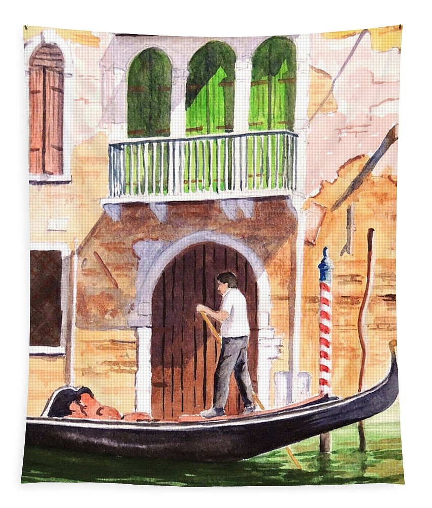 Venice Tapestry featuring the painting The Green Shutters - Venice by Bill Holkham