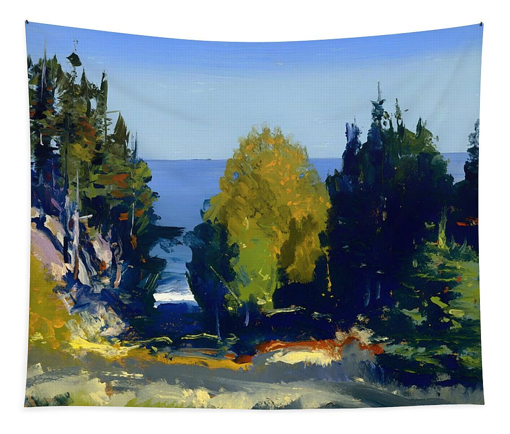 Painting Tapestry featuring the painting The Grove At Monhegan by Mountain Dreams
