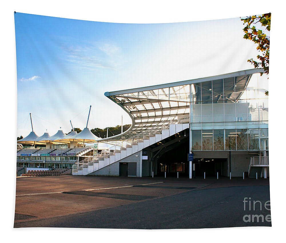 Hampshire County Cricket Club Pavilion Tapestry featuring the photograph The Hampshire County Cricket Club Pavilion by Terri Waters