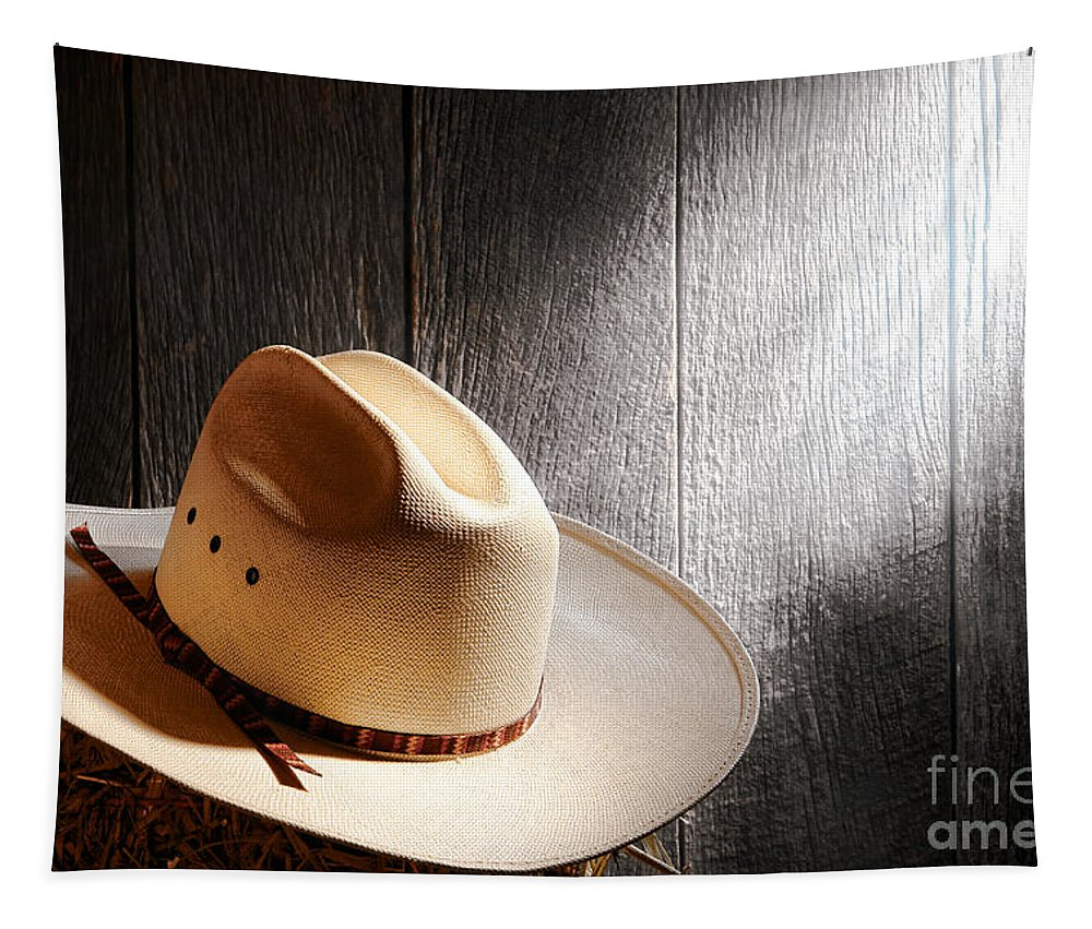 Cowboy Tapestry featuring the photograph The Hat by Olivier Le Queinec
