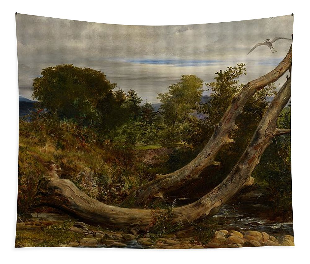 Heron; Herons; Bird; Birds; Disturbed; Flight; Flying; Landscape; Nature; Wildlife; Interruption; Stream; Creek; Brook; Countryside Tapestry featuring the painting The Heron Disturbed by Richard Redgrave