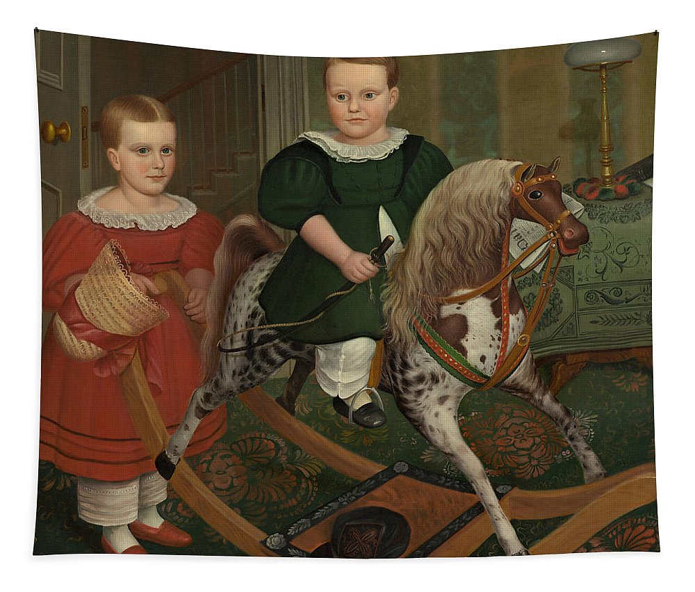 The Hobby Horse Tapestry featuring the painting The Hobby Horse by American School