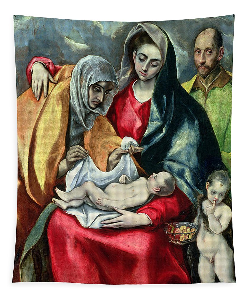 John The Baptist; El Tapestry featuring the painting The Holy Family With St Elizabeth by El Greco Domenico Theotocopuli