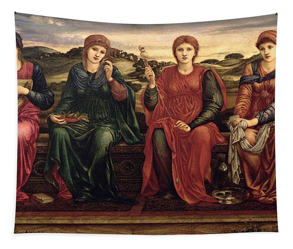 Harp Tapestry featuring the painting The Hours, 1870-82 by Sir Edward Coley Burne-Jones