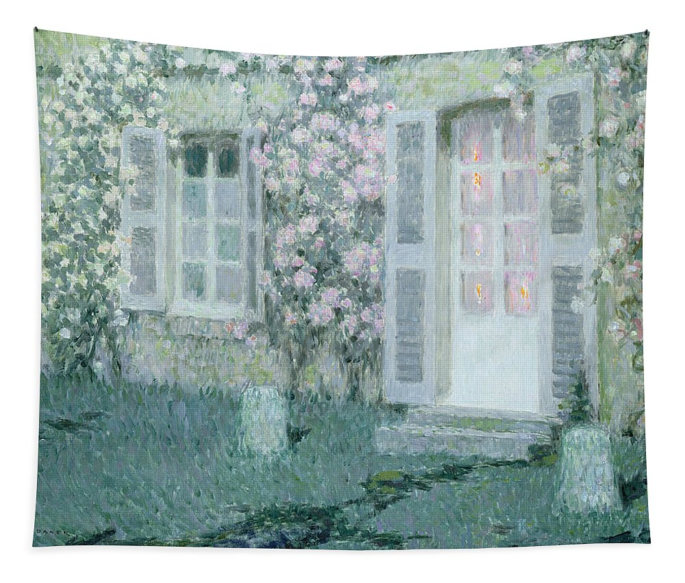 Post Impressionist Tapestry featuring the painting The House With Roses by Henri Eugene Augustin Le Sidaner