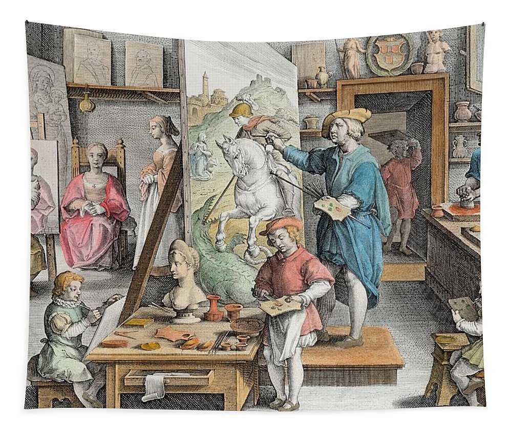 Van Eyck Tapestry featuring the drawing The Invention Of Oil Paint, Plate 15 by Jan van der Straet