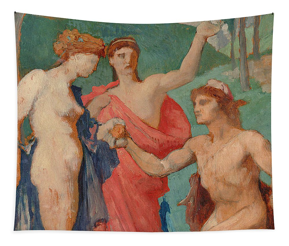 Delaunay Tapestry featuring the painting The Judgement Of Paris by Jules Elie Delaunay