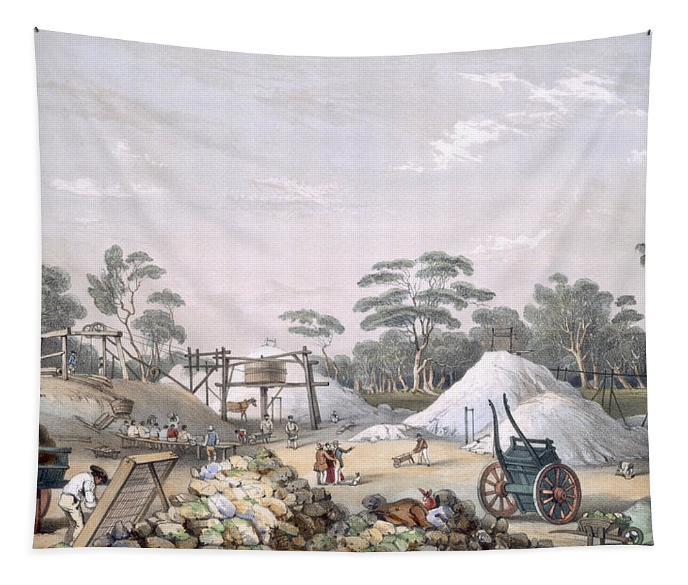 Immigration Tapestry featuring the drawing The Kapunda Copper Mine, From South by George French Angas