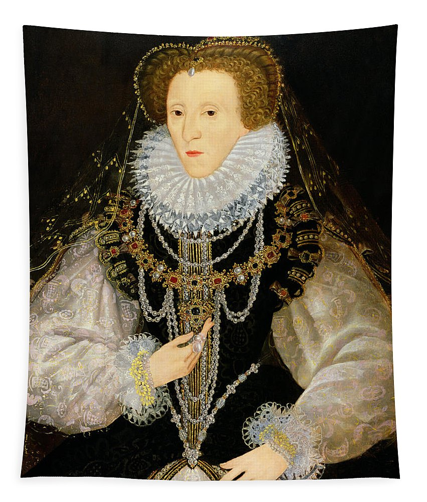 Female Tapestry featuring the painting The Kitchener Portrait Of Queen by English School