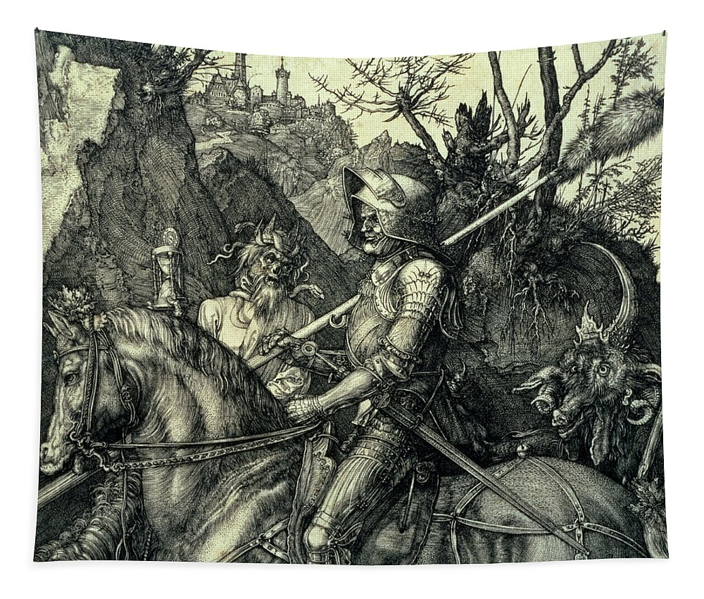 Durer Tapestry featuring the drawing The Knight, Death And The Devil by Albrecht Durer or Duerer